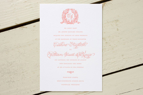 Acanthus Monogram Letterpress Wedding Invitations
