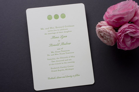Decorative Bellini Letterpress Wedding Invitations