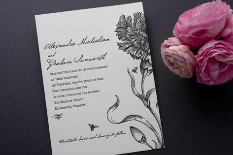 Botanical English Garden Letterpress Invitations