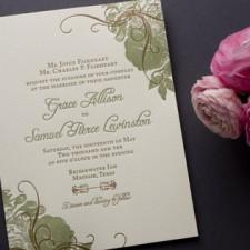 Botanical Vintage Rose Wedding Invitations