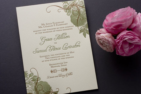 Botanical Vintage Rose Wedding Invitations