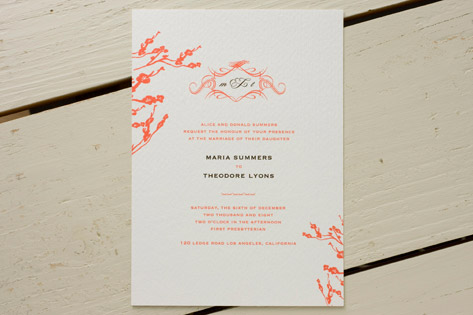 Cat Seto Coral Wedding Invitations