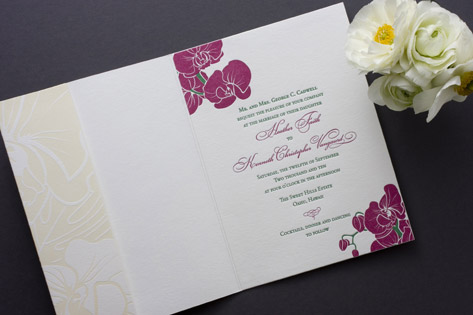 Destination Aloha Letterpress Wedding Invitations