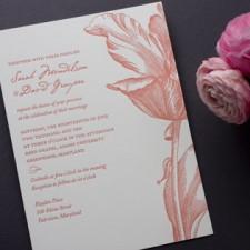 Parrot Tulip Letterpress Wedding Invitations