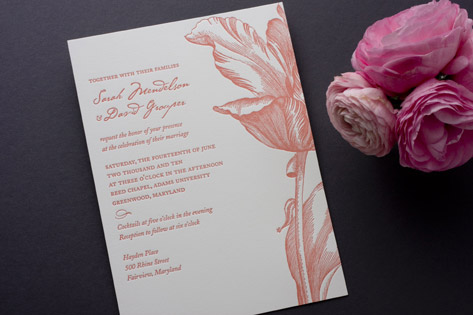Parrot Tulip Letterpress Wedding Invitations