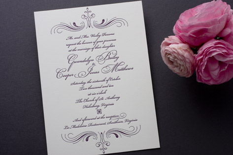 Vintage Mademoiselle Letterpress Invitations