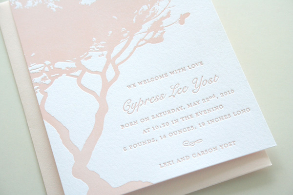 Cypress Letterpress Birth Announcements