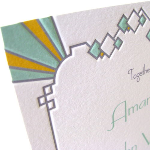 Deco Diamonds Pressed Wedding Invitations