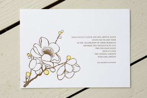 Sakura Letterpress Wedding Invitations