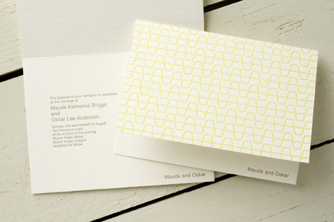 Modern Cups Letterpress Wedding Invitations