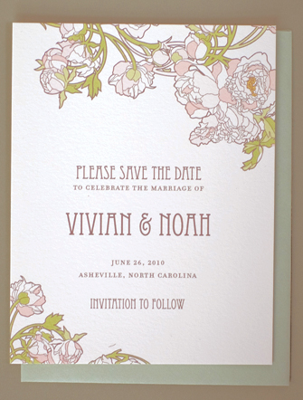 Nouveau Peonies Save the Date Cards