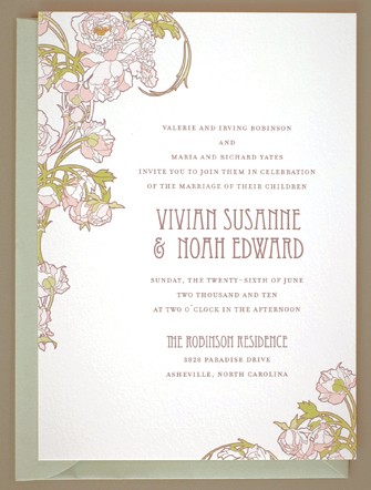 Nouveau Peonies Wedding Invitations