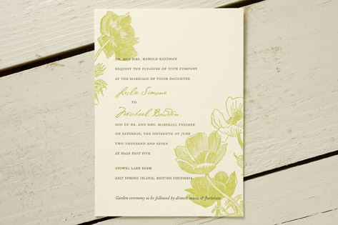 Poppies Letterpress Wedding Invitations