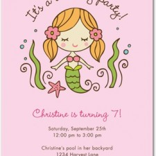 Sweet Mermaid Birthday Party Invitations