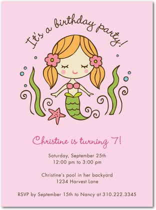 Sweet Mermaid Birthday Party Invitations Invitation Crush