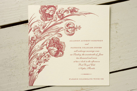 Tulipa Letterpress Wedding Invitations
