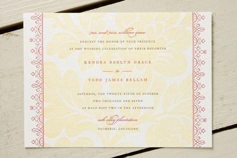 Vintage Tapestry Letterpress Wedding Invitations