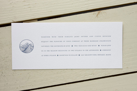 Wave Letterpress Wedding Invitations