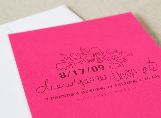 Alee & Press Letterpress Birth Announcements