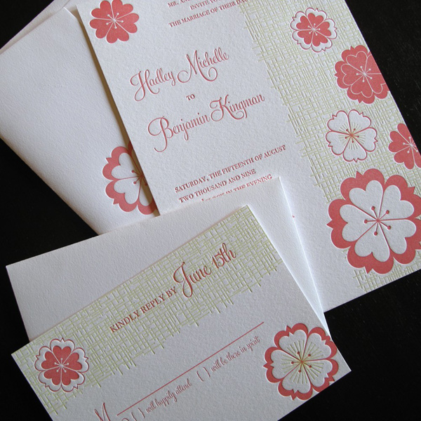 Anemone Letterpress Wedding Invitations