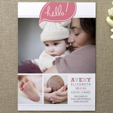 Bright Hello Birth Announcements