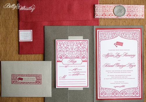 silver Archives Invitation Crush – Red and Silver Wedding Invitations