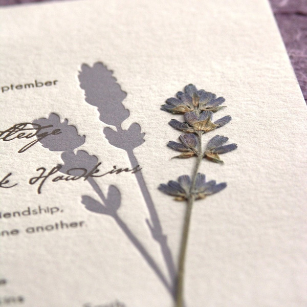 Eden Pressed Flower Letterpress Wedding Invitations