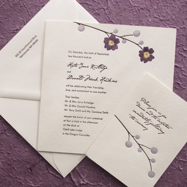 pressed flower letterpress wedding invitations invitation crush. Black Bedroom Furniture Sets. Home Design Ideas
