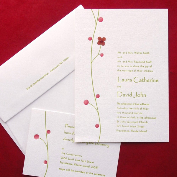 Pressed Flower Letterpress Wedding Invitations