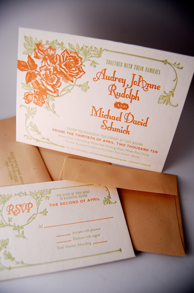 1920's Inspired Letterpress Wedding Invitations