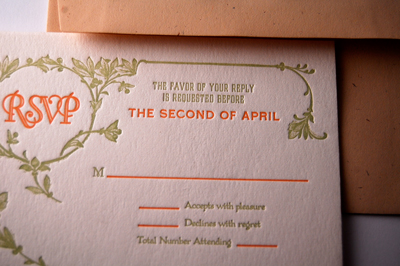 1920's Inspired Letterpress Wedding RSVP Cards