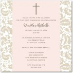 Simple Floral First Communion Invitations