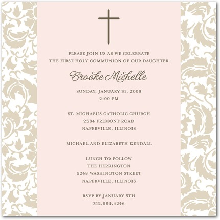 Simple Floral First Communion Invitations Invitation Crush