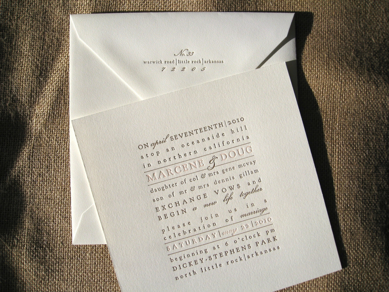 Wedding Invites Letterpress: Typographic Letterpress Wedding Invitations