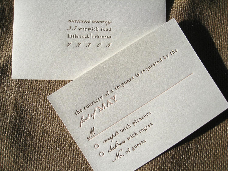 Typographic Letterpress Wedding Invitations - Invitation Crush