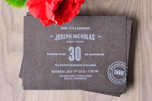 Meaty Letterpress 30th Birthday Party Invitations