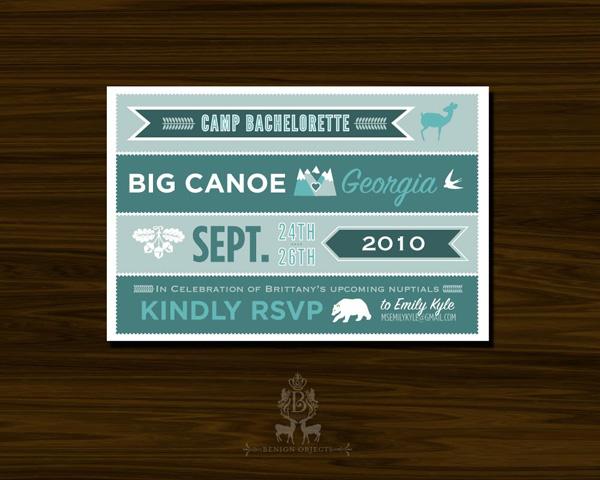 Camp Bachelorette Postcard Invitations