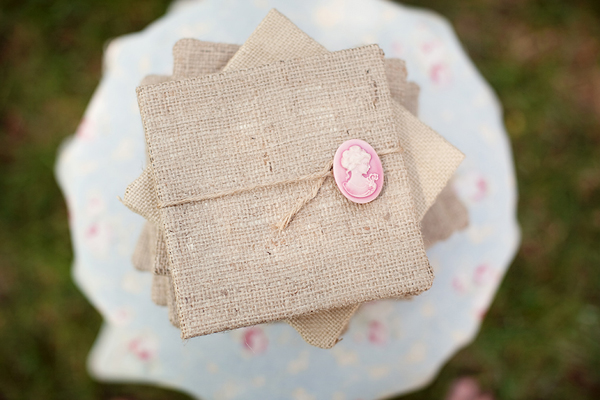 Burlap Cameo Wedding Invitations