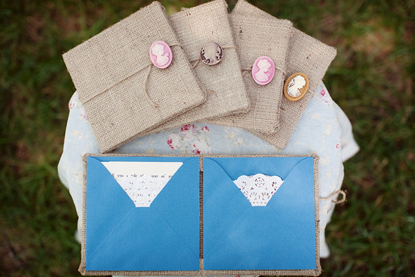 Unique Burlap Cameo Wedding Invitations The couple created these custom