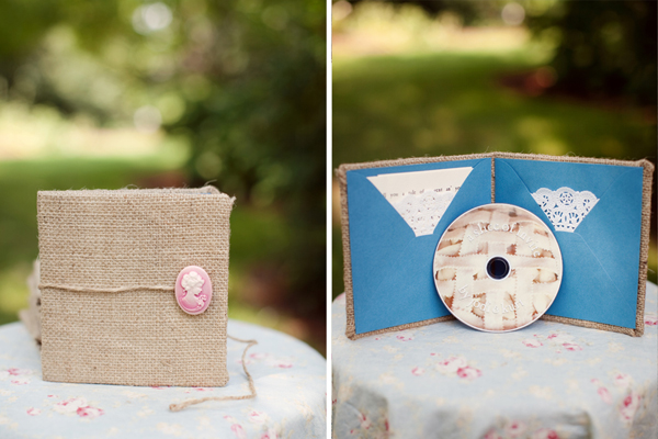 Unique Burlap Cameo Wedding Invitations