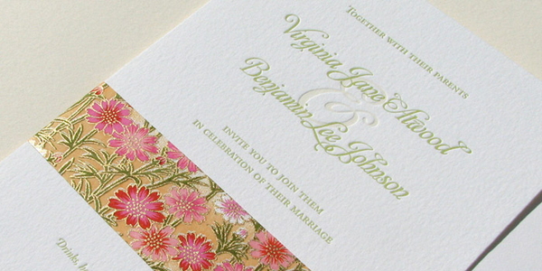 Chiyogami and Letterpress Wedding Invitations