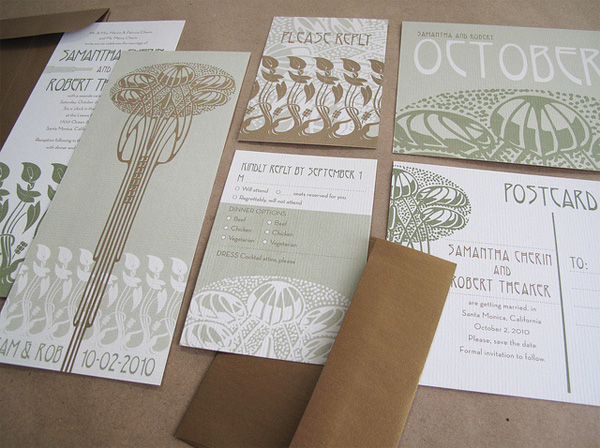 This is one of the most beautiful Art Nouveau inspired wedding invitation