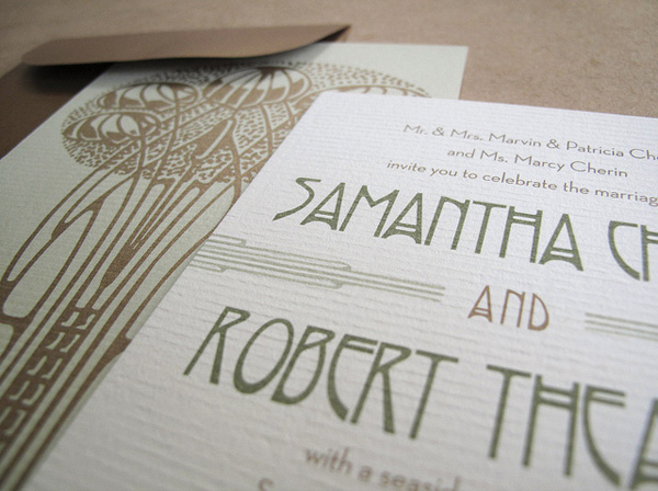 Art Nouveau Inspired Wedding Invitations