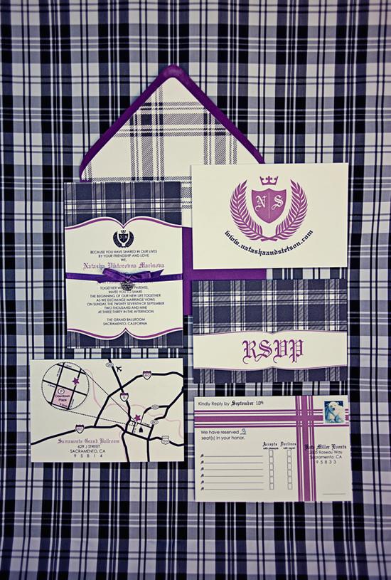 natasha stetson s purple plaid wedding invitations invitation crush