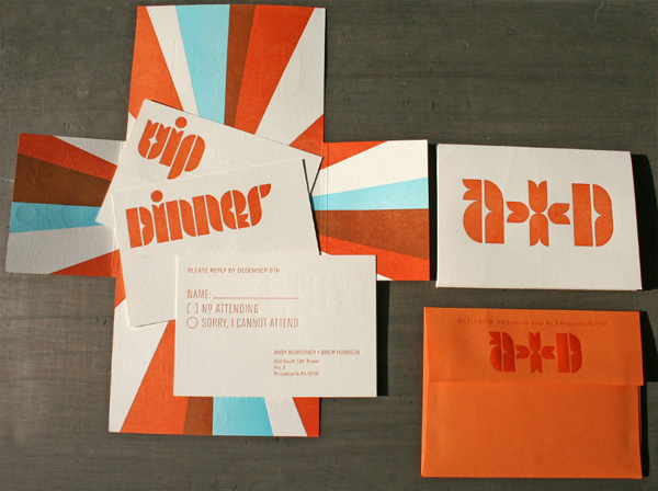 Mid-Century Modern Typographic Wedding Invitations - Invitation Crush
