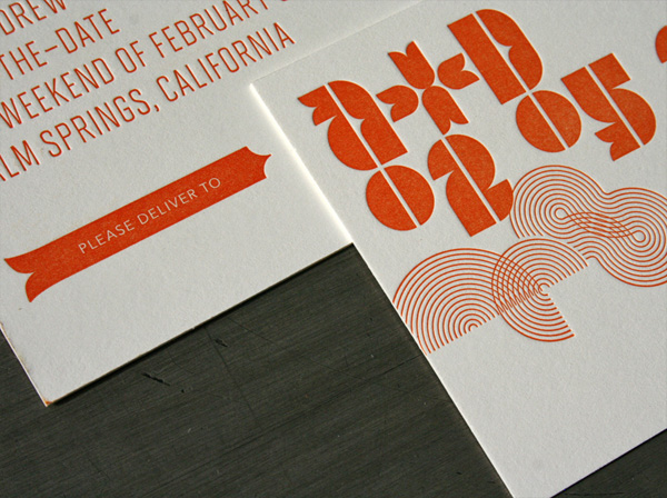 Mid-Century Modern Typography Letterpress Wedding Invitations