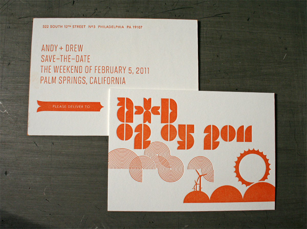 Mid-Century Modern Typographic Letterpress Wedding Invitations