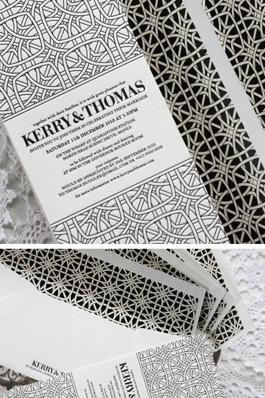 Black and White Letterpress Wedding Invitations