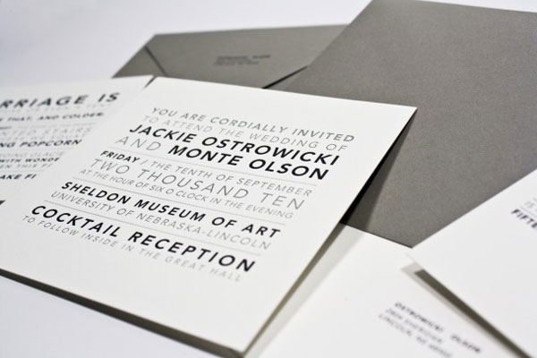 Black and Grey Wedding Invitations
