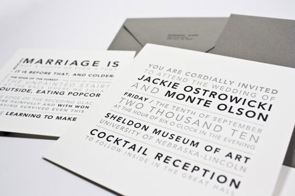 Black and Grey Letterpress Wedding Invites
